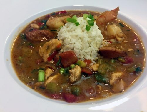 Cajun Chicken, Andouille Sausage, and Shrimp Gumbo