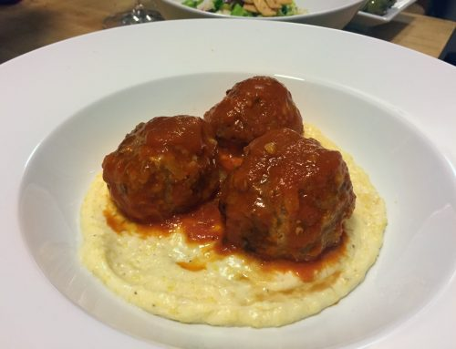 Pressure Cooker Meatballs In A Tomato Basil Sauce Over Creamy Cheddar Cheese Polenta