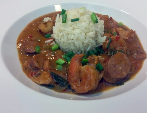 Pressure Cooker Chicken, Andouille Sausage & Shrimp Gumbo