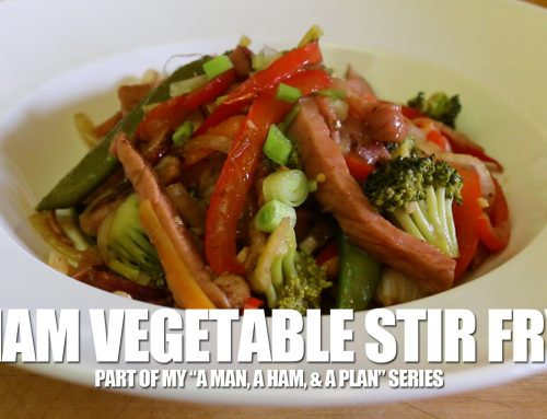Ham Stir Fry With Broccoli, Carrots, Snap Peas, And Red Peppers