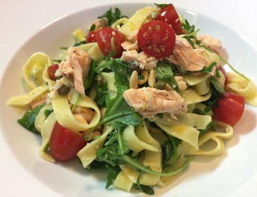Simon's Salmon Pasta With Arugula, Tomatoes, Capers And Pine Nuts