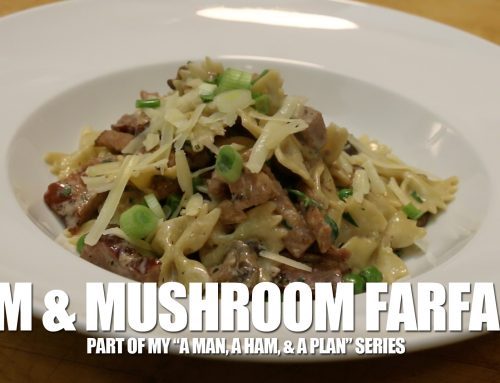 Farfalle in a Cream Sauce with a Ham, Mushroom, and Peas