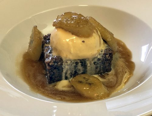 Bananas Foster over Banana Nut Bread Pudding